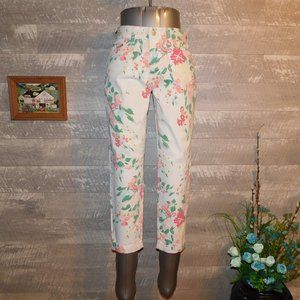 NYDJ Floral Print Ankle Pants High Waist